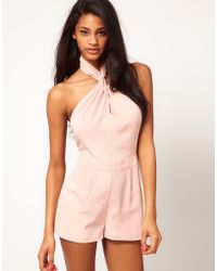 ASOS Collection Asos Playsuit with Sexy Knot Front pink - Lyst