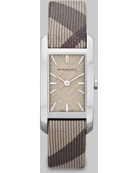 Burberry Check Stamped Rectangular Stainless Steel Watch - Lyst