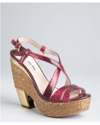 Miu Miu Peony Snake Embossed Leather Platform Sandals - Lyst