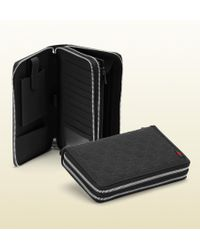Gucci Black Rubber Ssima Leather Travel Document Case - Lyst