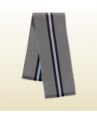 Gucci Gg Jacquard Knit Scarf With Web And Fringe - Lyst