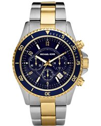 Michael Kors Mens Chronograph Two Tone Stainless Steel Bracelet Watch  - Lyst