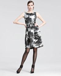Oscar de la Renta Brushstroke Print Belted Dress - Lyst