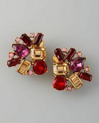 Oscar de la Renta Crystal Cluster Clip Earrings - Lyst