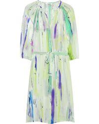 Tucker - Belted Printed Silk Habotai Dress - Lyst