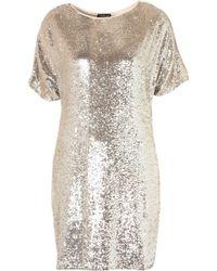 Topshop Premium Sequin Tshirt Dress silver - Lyst