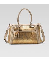Gucci Bella Medium Top Handle Bag Orochampagne Python - Lyst