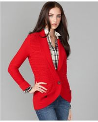 Tommy Hilfiger Long Sleeve Cable Knit Cardigan - Lyst
