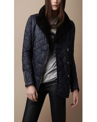 Burberry Brit - Shearling Collar Quilted Pea Coat - Lyst
