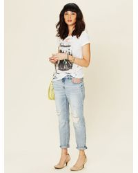 Free People Tapestry Embellished Slim and Slouchy Fit Jeans - Lyst
