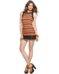 Free People Sleeveless Boatneck Striped Beaded Shift Dress - Lyst