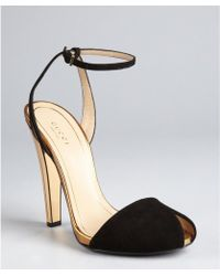 Gucci  Suede Delphine Ankle Strep Mirrored Heel Sandal - Lyst