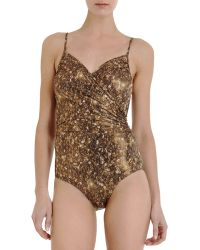Lanvin - Metallic Ruched Swimsuit - Lyst