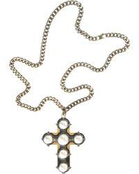 Lanvin Pearl Croix Long Necklace - Lyst