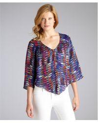 Dolce Vita Blue Dash Print Silk 'Alejandra' Long Bell Sleeve Blouse - Lyst