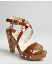 Jimmy Choo Bronze Patent Leather Usher Studded Sandals - Lyst