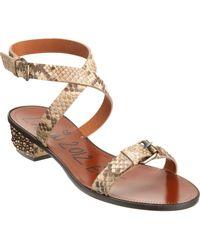 Lanvin Python Studded Heel Sandal - Lyst