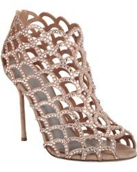 Sergio Rossi Crystal Cutout Shoe Bootie gold - Lyst