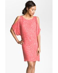 Aidan Mattox Embellished Split Sleeve Shift Dress pink - Lyst