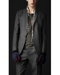 Burberry Prorsum Skinny Fit Check Wool Jacket - Lyst