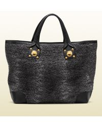Gucci Sunset Medium Tote With Hand Stitching And Large Studs With Engraved Interlocking G - Lyst