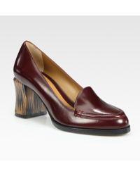 Fendi Austen Leather Loafer Pumps - Lyst