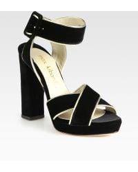 Max Kibardin - Velvet And Metallic Leather Trim Sandals - Lyst