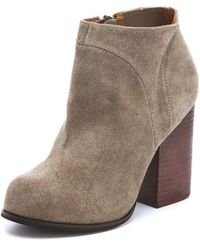 Jeffrey Campbell Hanger Suede Raw Booties - Taupe - Lyst