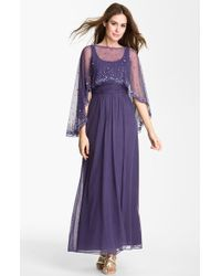 Patra | Scoop Neck Mesh Gown Embellished Cape | Lyst