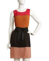 Sue Wong Pleated Colorblock Dress - Lyst