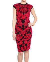 Alexander McQueen Flower Wool Viscose Jacquard Dress - Lyst