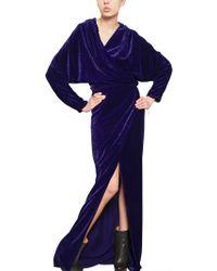 Lanvin Viscose Velvet Long Dress - Lyst