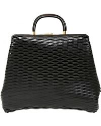 Marni Soft Leather Woven Inlay Top Handle black - Lyst