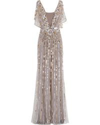 Temperley London Sequin Gown gold - Lyst