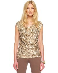 Michael Kors Capsleeve Abstract Cami Camo Sequined Draped Top - Lyst