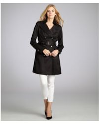Vince Camuto Black Cotton Blend Belted Double Breasted Trench Coat - Lyst