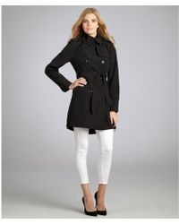 Vince Camuto Black Double Breasted Trench Coat - Lyst