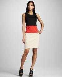 DKNY Colorblock Twill Dress - Lyst