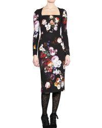 Dolce & Gabbana Flower Print Viscose Stretch Crepe Dress - Lyst