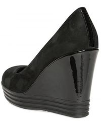 Hogan Rebel 100mm Suede and Patent Wedge - Lyst