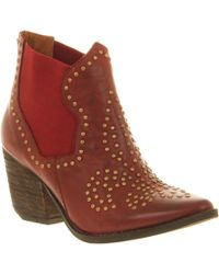 Jeffrey Campbell Bourbon Ankle Boot Red Leather - Lyst
