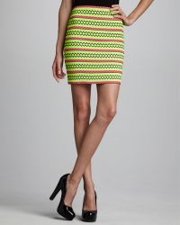 Pleasure Doing Business Neon Zigzag Skirt - Lyst