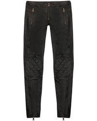 Alexander McQueen Cropped Biker Leather Trousers - Lyst