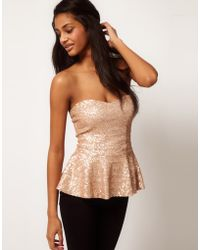 ASOS Collection Asos Bandeau Peplum Top in Baby Sequin - Lyst