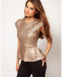 ASOS Collection Asos Peplum Top in Sequin - Lyst