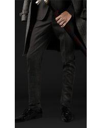 Burberry Prorsum Skinny Fit Herringbone Wool Trousers - Lyst