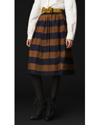 Burberry Prorsum Striped Cotton and Silk Skirt - Lyst