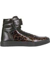 Saint Laurent Malibu Velcro Leo Print Leather Sneakers - Lyst