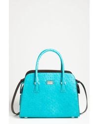 Michael Kors Gia Ostrich Embossed Leather Satchel - Lyst