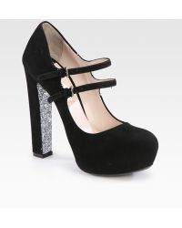 Miu Miu Suede Glitter Sole Double Buckle Mary Jane Pumps - Lyst